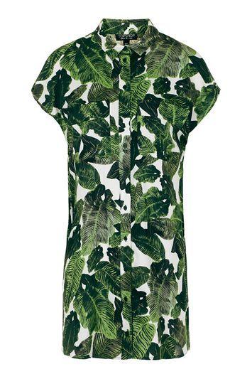 Palm Print Shirt Dress