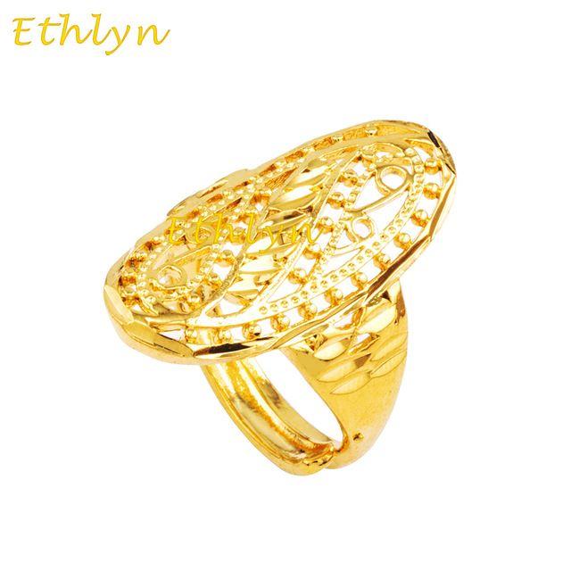Ethlyn Elegante banhado a ouro Geométrica mulheres acessórios anéis 22 K Banhado A Ouro jóias Anel ajustável presente de aniversário mulheres R032