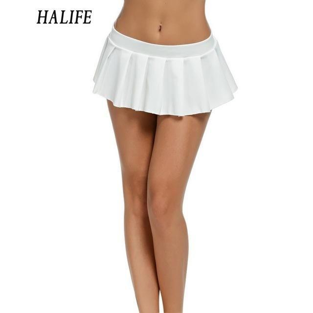 Women Micro Skirt Low Waist Black White Green Short Mini Skirt Sleepwear Nightwear Cosplay Pleated Skirts