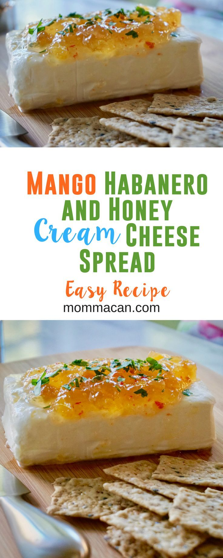Mango Habanero Pepper Jelly, Honey, and Cream Cheese Spread, the perfect appetizer for those who like a little spice in their life. #creamcheese #appetizer #easyrecipe
