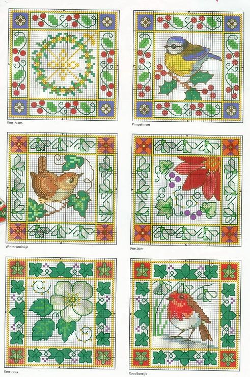 Cross-stitch flowers and birds. Biscornu.