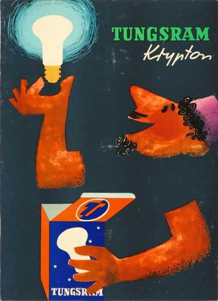 Tungsram Krypton lápma retro plakát poster