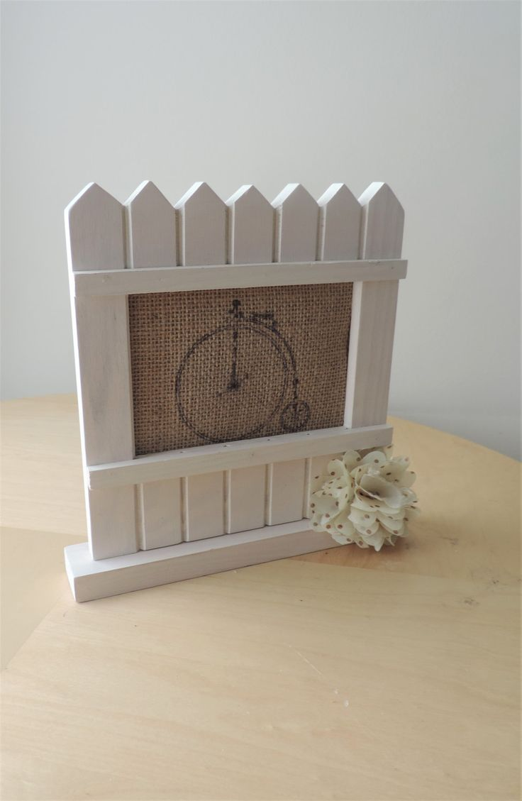 Picket fence wood frame with burlap inset printed with Victorian bicycle & cotton flower accent/rustic home decor/cottage chic/vintage style by BirdOnABarbedWire on Etsy
