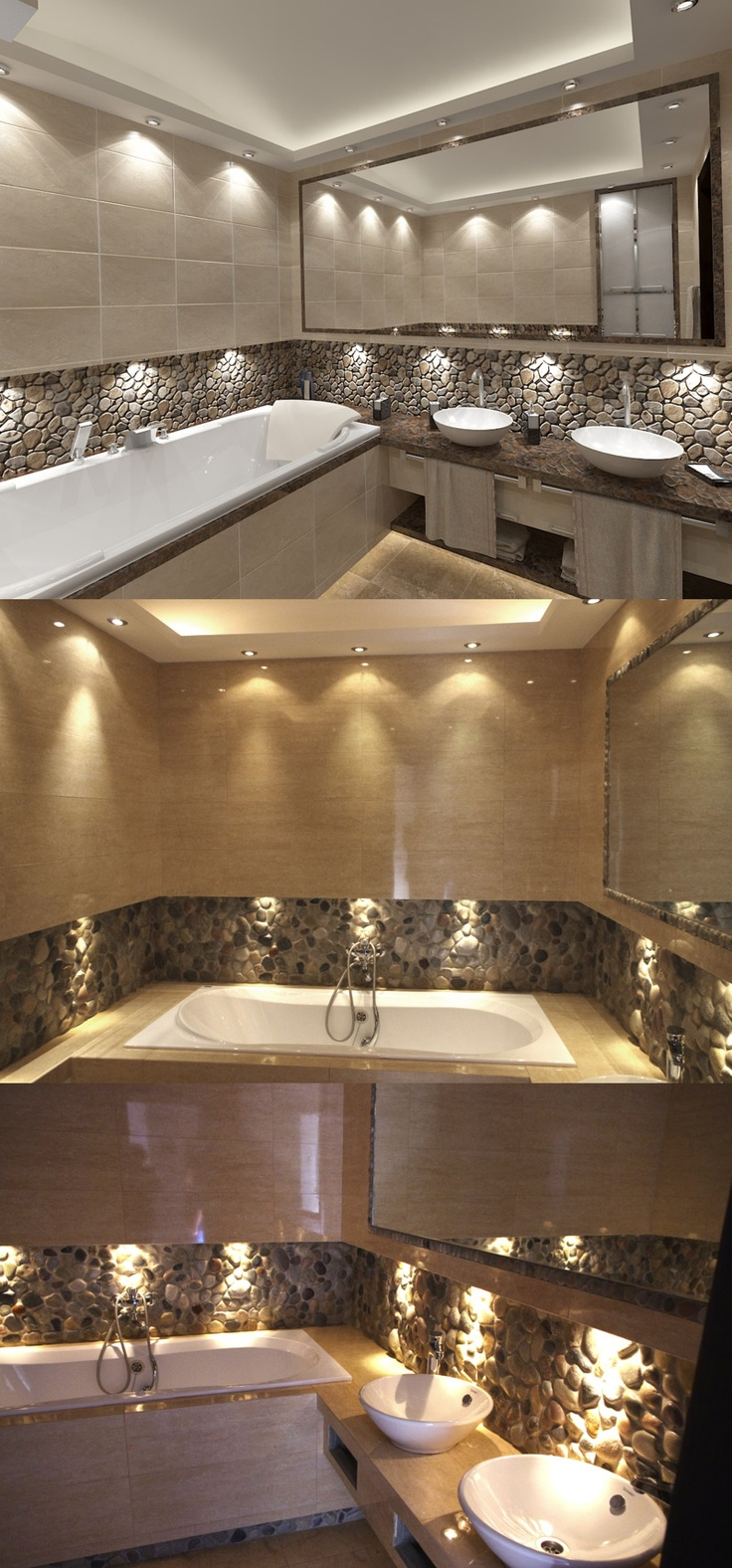 30 Glowing Ceiling Designs With Hidden Led Lighting Fixtures - Stone backsplash with hidden lighting in bathroom