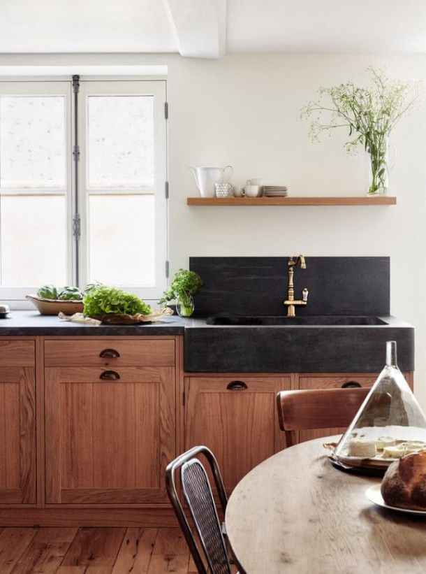 Oak Kitchen. Kitchen Design Ideas, Polished Black Concrete Sink, Open  Shelving, Wooden Part 98