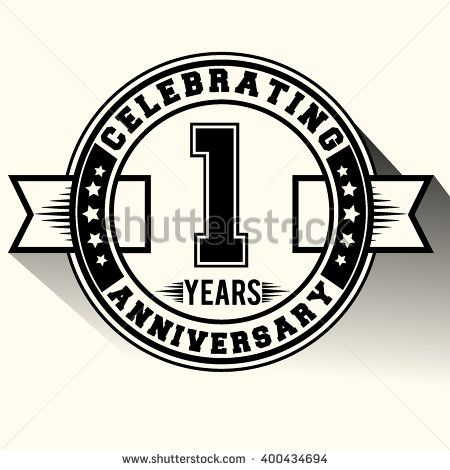 Celebrating 1 years anniversary logo vintage emblem. Retro vector background.
