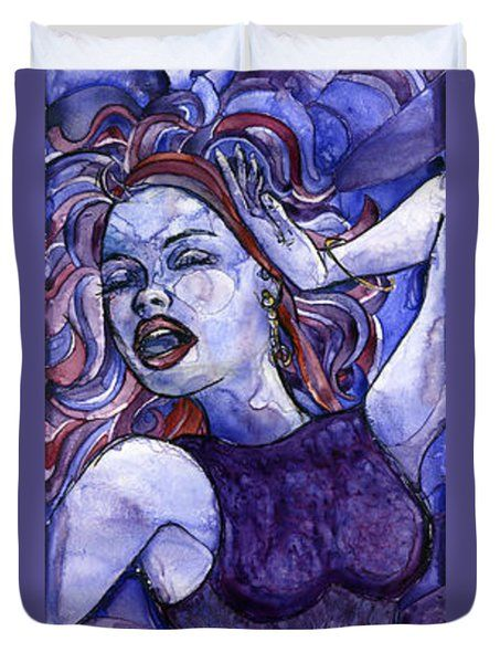 Singing Lady- Jazz Duvet Cover by Amy Stielstra