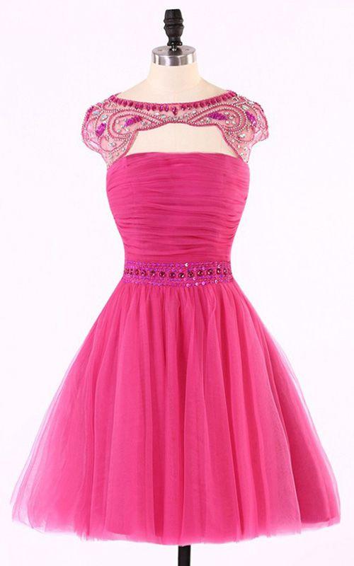 Fuchsia Scoop Neckline Mini A Line Sleeveless Cap Straps Sequins Beading Short Homecoming Dress