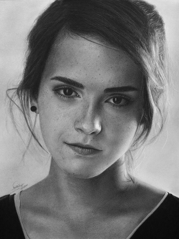 Emma Watson. Pencil drawing (charcoal and graphite.) : Art