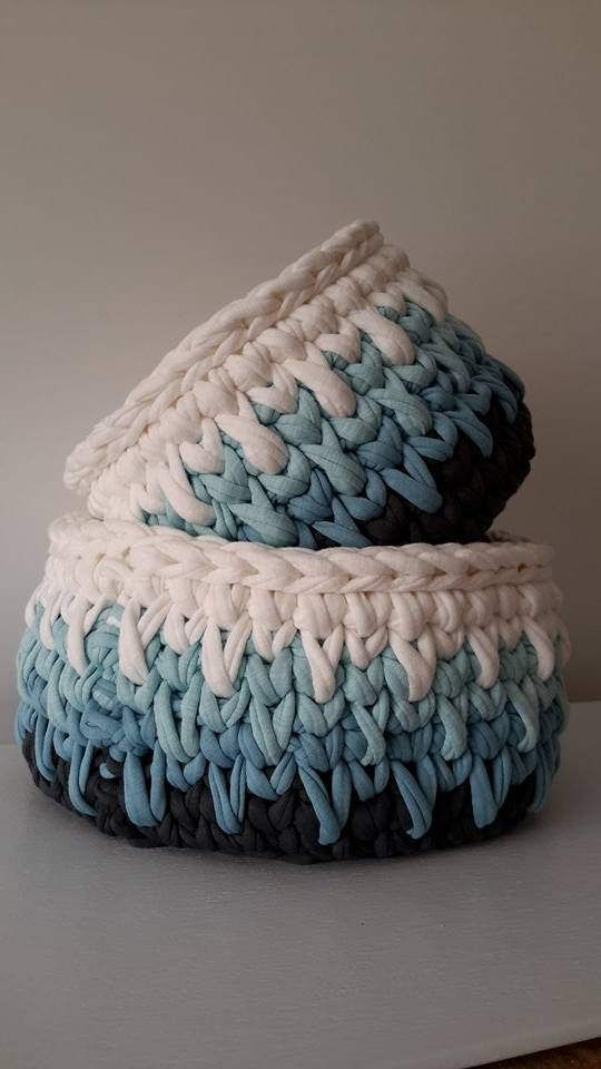 Two Crochet Baskets, Home Decor by DSahver on Etsy