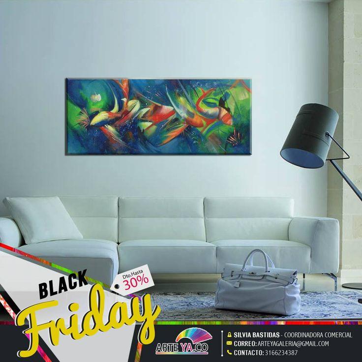 Hoy tienes la oportunidad de aprovechar nuestro #BlackFriday Obra: Acuario y color Medidas: 120 cm X 50 cm