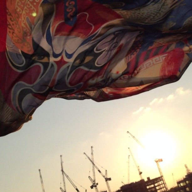 A sunny but windy evening in London. Quing Scarf in action! www.thesilkvault.com #silk #scarf #mask #luxury #windy #theatre
