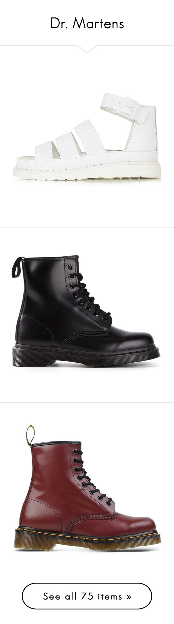 """""""Dr. Martens"""" by cherrypopanda ❤ liked on Polyvore featuring shoes, sandals, sapatos, white, dr martens sandals, real leather shoes, dr martens footwear, genuine leather shoes, leather shoes and boots"""