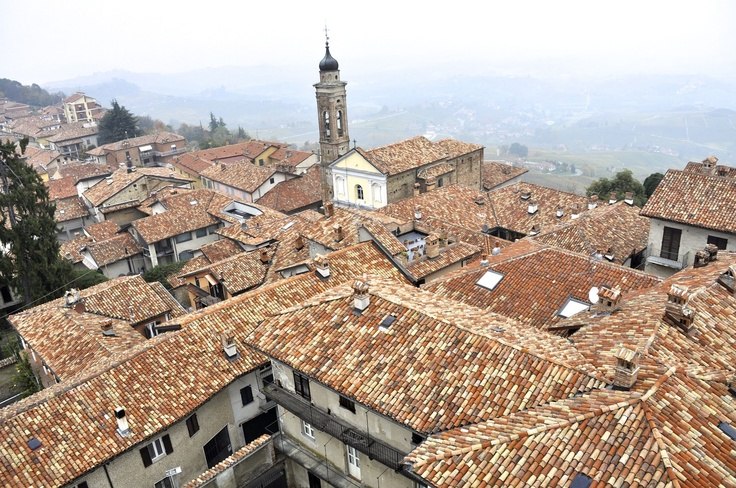 The terra cotta roofs of La Morra, Italy