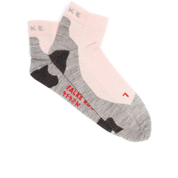Falke RU5 lightweight running socks ($20) ❤ liked on Polyvore featuring intimates, hosiery, socks, light pink, seamless socks, double layer socks, falke hosiery, no seam socks and falke socks