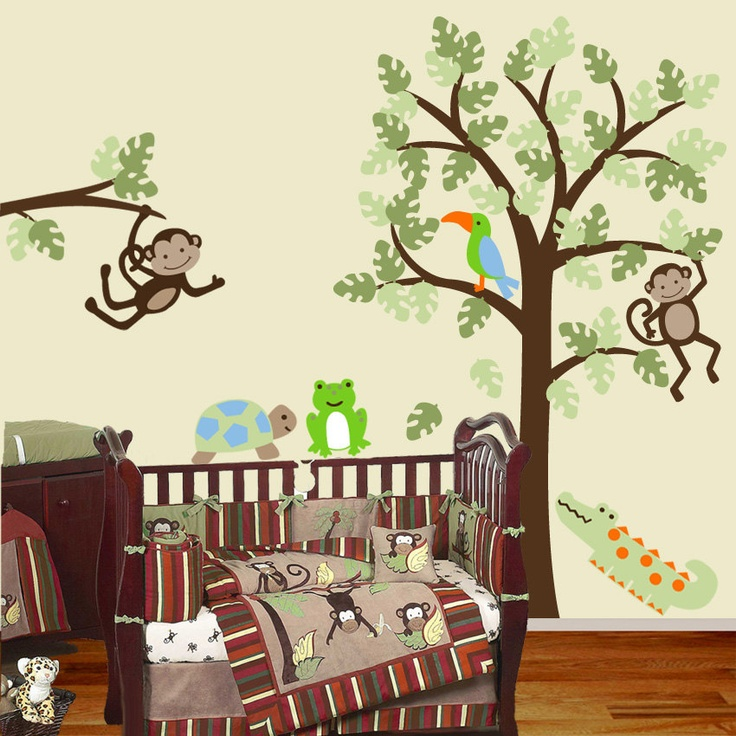 Baby Nursery Wall Decal Tree and Branch with Monkey Jungle Matches Papagayo Bedding - Removable Vinyl Wall Decal Sticker.