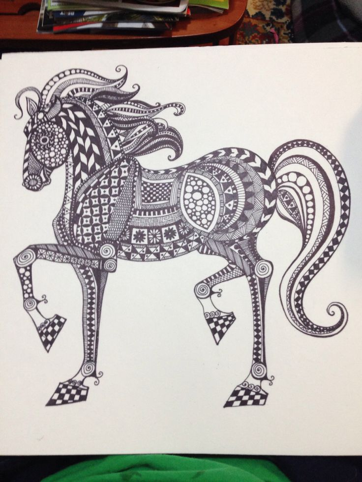 Zentangle Horse Art Zentangle Animals Pinterest