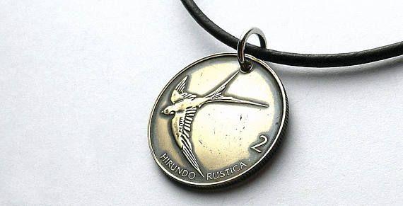 Slovenian necklace Coin necklace Leather necklace Men's