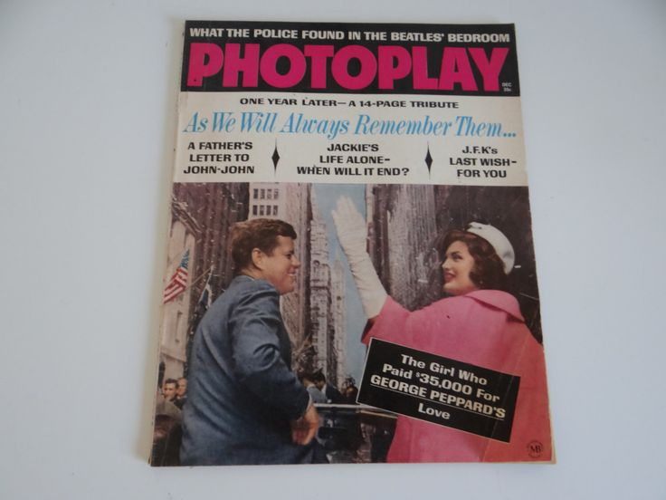 Photoplay Magazine - December 1964 - Movie Magazine -  Tribute to John and Jackie Kennedy - Frank Sinatra - Beatles - Dean Martin by SecondWindShop on Etsy https://www.etsy.com/listing/209047223/photoplay-magazine-december-1964-movie