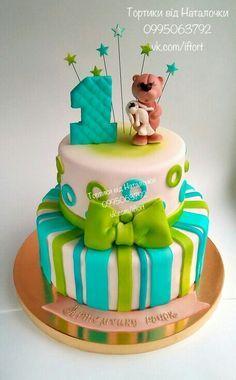 Торт на 1 год мальчику, полосочки, мишка