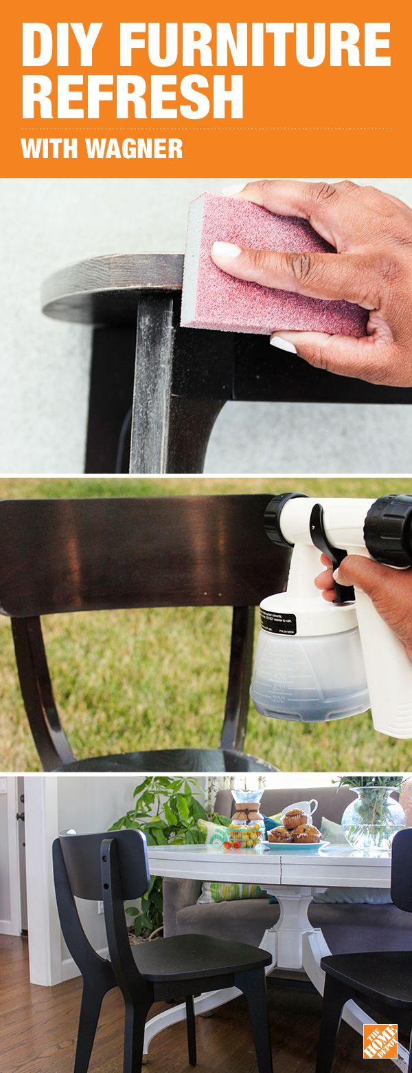 Blogger Katrina Sullivan of Chic Little House gave her worn out chair and sofa feet a quick DIY paint refresh using the easy-to-use Wagner Home Decor Paint Sprayer. Click to see step-by-step instructions on how to makeover your furniture with Wagner and BEHR paint.
