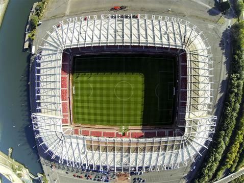 Aerial shots of Middlesbrough FC's Riverside Stadium
