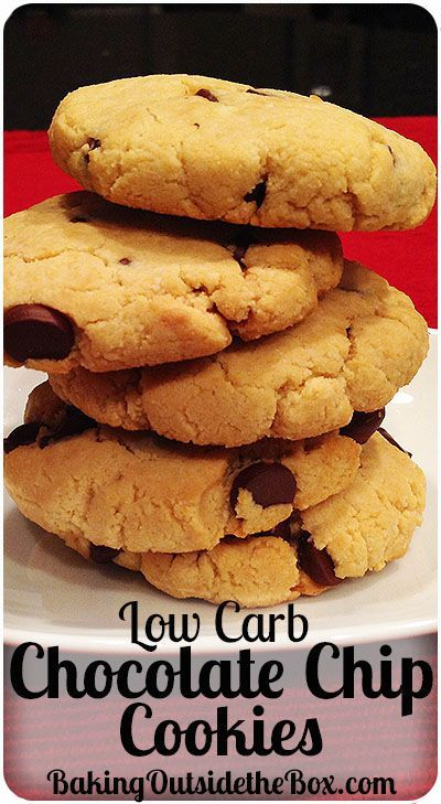 #bakingoutsidethebox   This Low Carb Chocolate Chip Cookies Recipe makes great soft cookies. Almond flour & 60% chocolate chips keep the cookies to 3.5 net carbs per cookie.