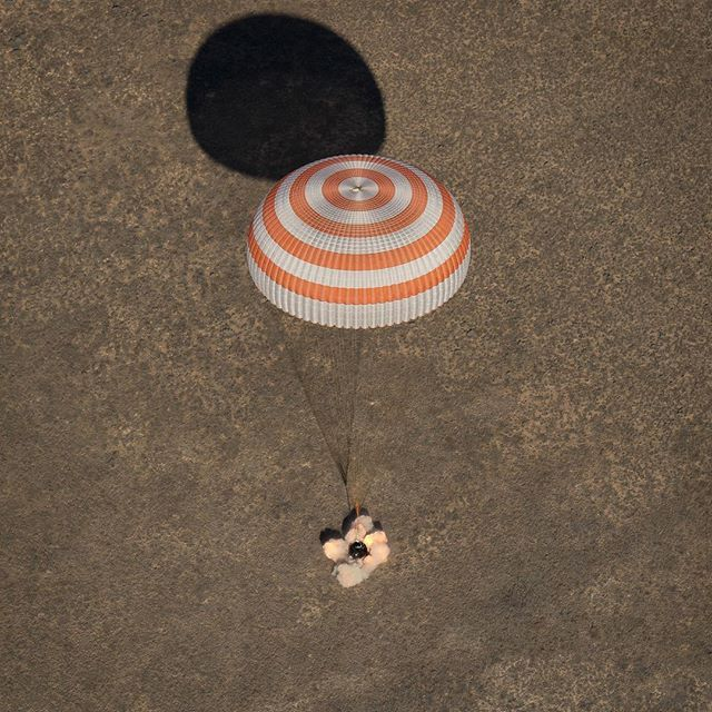 nasa Touchdown! A Soyuz spacecraft is seen as it lands with astronaut Shane Kimbrough (@Astro_Kimbrough) of NASA and Russian Flight Engineers Sergey Ryzhikov and Andrey Borisenko near the town of Zhezkazgan, Kazakhstan on Monday, April 10, 2017. Kimbrough, Ryzhikov, and Borisenko are returning after 173 days in space onboard the International Space Station (@ISS). While living and working aboard the space station, the crew members contributed to hundreds of experiments in biology…