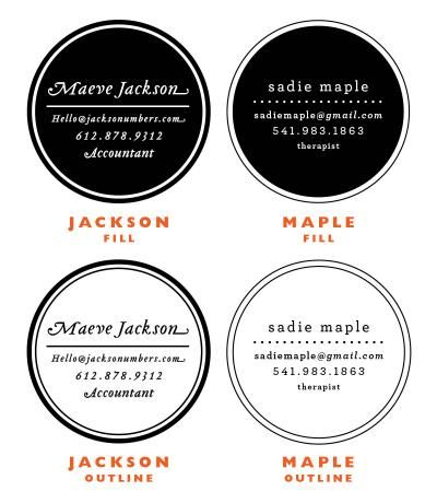 RECOMMEND: Jackson and Maple - Recommend Maple Fill Business Card Stamp $78.00