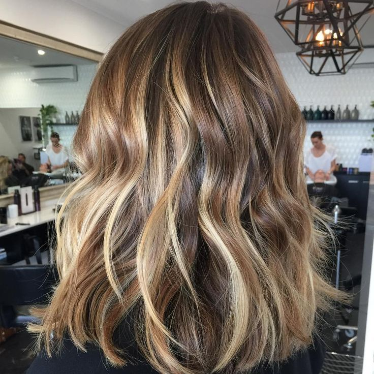 Blonde Balayage For Brown Hair - Medium Brown Hair with Golden Highlights