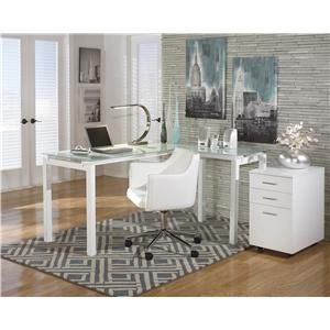 Baraga White Finish Metal L Desk With Frosted Glass Top