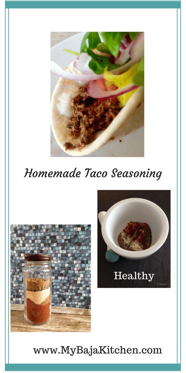 Shared by www.MyBajaKitchen.com Homemade taco seasoning. #tacos, #healthy
