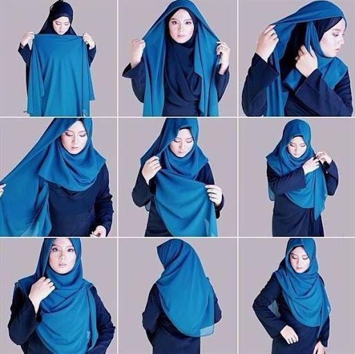 kreasi jilbab segi empat desain simple, elegan modis dan modern terbaru 2015/2016