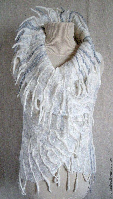 """Купить Жилет """"Зима"""" валяный - белый, абстрактный, жилет валяный, зима 2012, подарок женщине"""