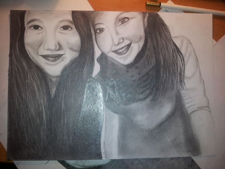 Portrait of my friend and her sister
