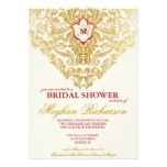 Fancy Flourishes Golden Indian Arabic Wedding Invitation Set  $2.10 Gold and red color scheme from www.oddlotweddings.com