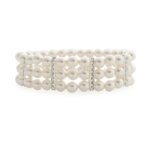 Three Strand Stretch Pearl Bracelet