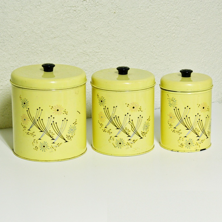 Vintage Canister Set   Tins   Yellow   Retro Flowers   Flour   Coffee    Sugar