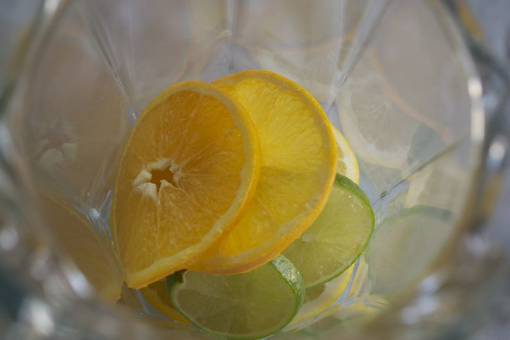 Rainbow Citrus Water  Slice an orange, a lemon and a lime into thin slices and remove all seeds Add to pitcher and add approximately 1/2 gallon of water Allow to sit in the fridge for several hours