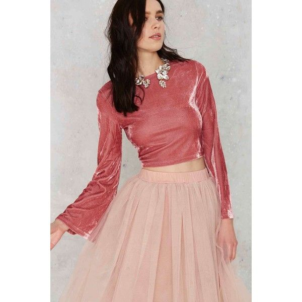Glamorous Get Crushed Velvet Crop Top ($48) ❤ liked on Polyvore featuring tops, pink, red crop top, boxy crop top, pink top, red top and bell sleeve crop top