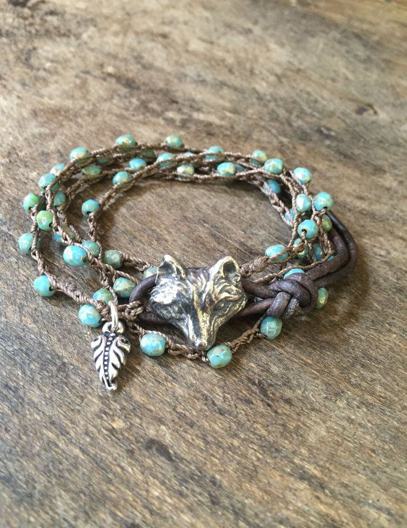 Silver Fox Crochet Bracelet Knotted Multi Wrap Beaded Jewelry by Two Silver Sisters twosilversisters