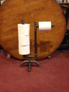 Toilet Paper Holder and Storage - Black Steel Industrial Design