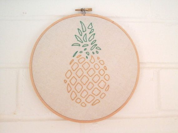 Pineapple embroidery wall hanging by WhistlingTeapot on Etsy, $45.00