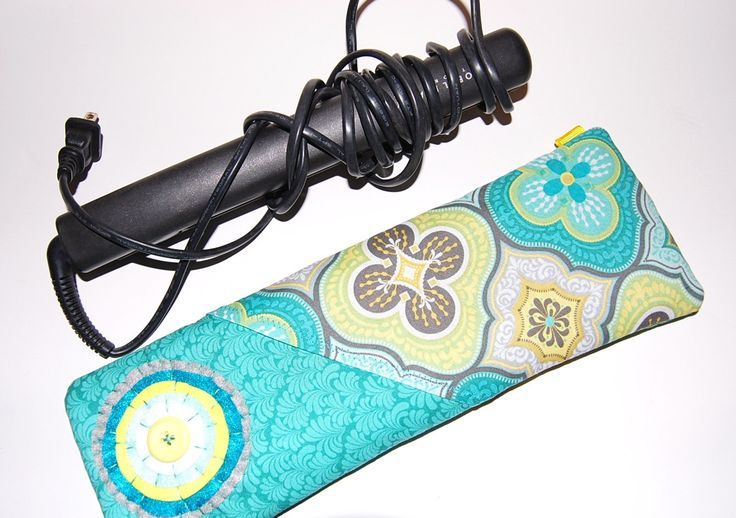 Flat Iron Holder, Curling Iron Holder, Curling Iron Travel Bag, Flat Iron Case, Flat Iron Cover, Flat Iron Sleeve, Yellow, Teal by Sewmuchfunstuff on Etsy