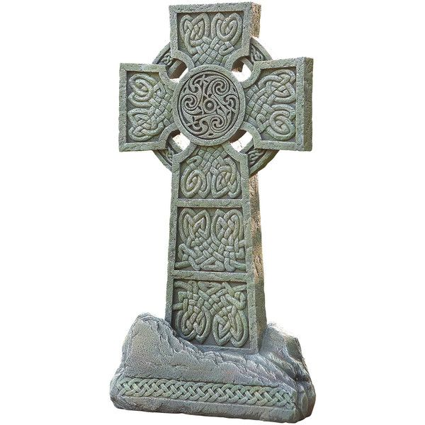 "16.25"" Celtic Garden Cross Outdoor Statue ($148) ❤ liked on Polyvore featuring home, outdoors, outdoor decor, garden patio decor, garden statues, outside garden decor, outdoor statuary and outdoor statues"