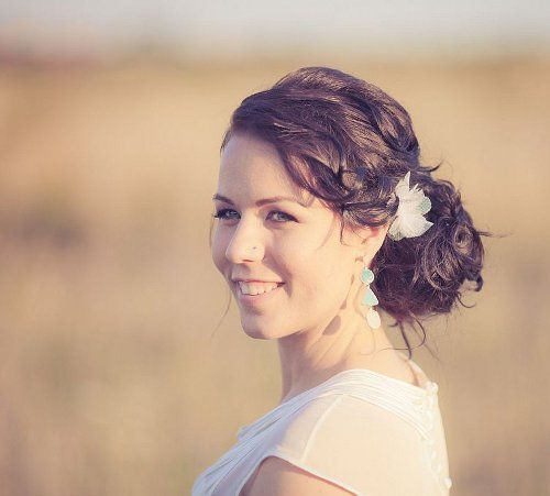 Barborka, a real bride wearing our tulle hair flowers.