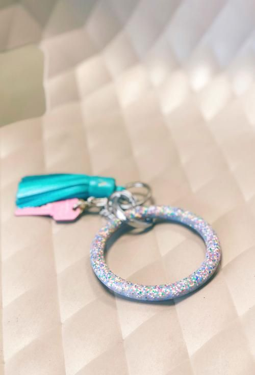 661ae70b8d o-venture key ring in rainbow confetti, rainbow glitter keyring | L ...