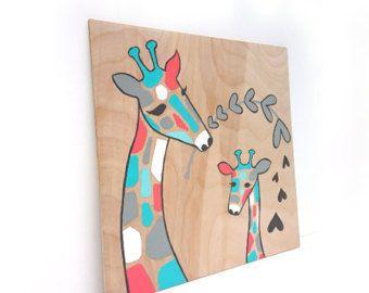 Baby Girl kinderkamer kunst - Giraffe kwekerij Decor - Gift van de douche van de Baby - Mama en Baby Giraffe - Girls Room Decor - Kids kunst aan de muur - hout Wall Art