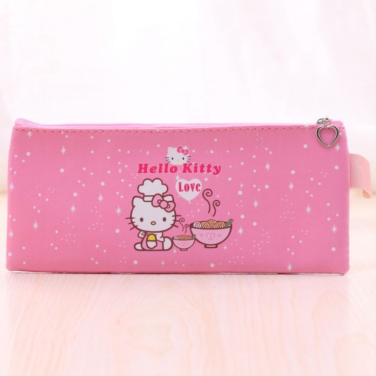 Cute Hello kitty pencil cases for girls Kawaii Pink PU leather pen bag Kids gift Stationery pouch office school supplies