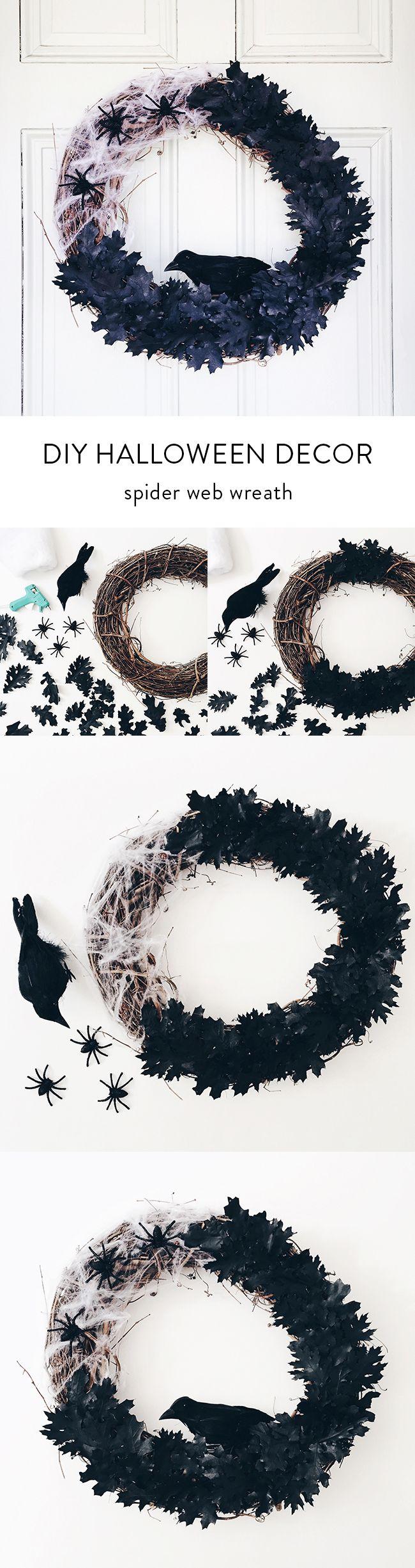 diy halloween decor: spider web wreath